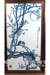 """【傅国胜作品】青花""""梅花清香""""瓷板"""