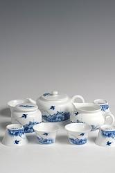 【玉柏茶具】荷花扁壶茶具