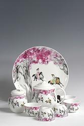 【玉柏茶具】八头游春图茶具
