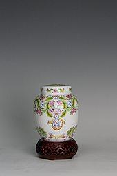 【珐琅彩】花卉茶罐