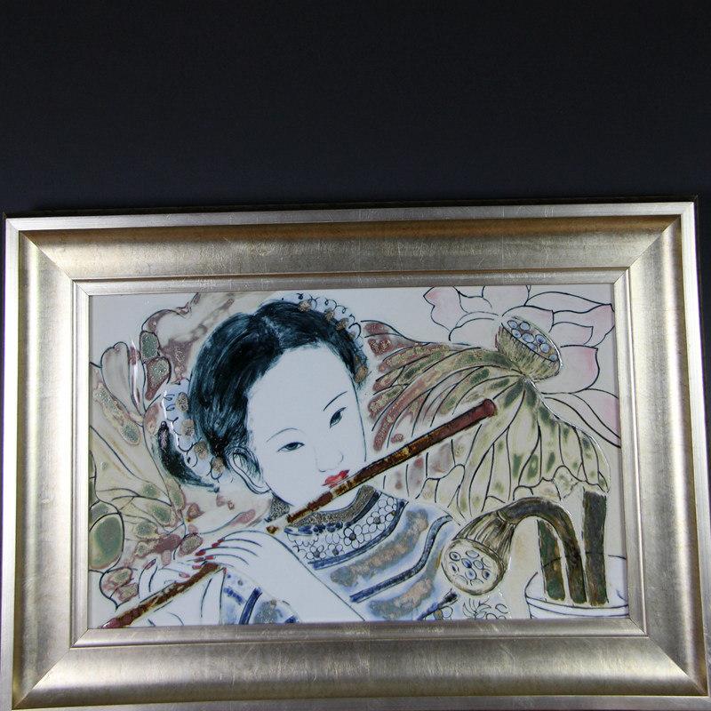 """【操霞作品】高温色釉瓷板""""音"""""""