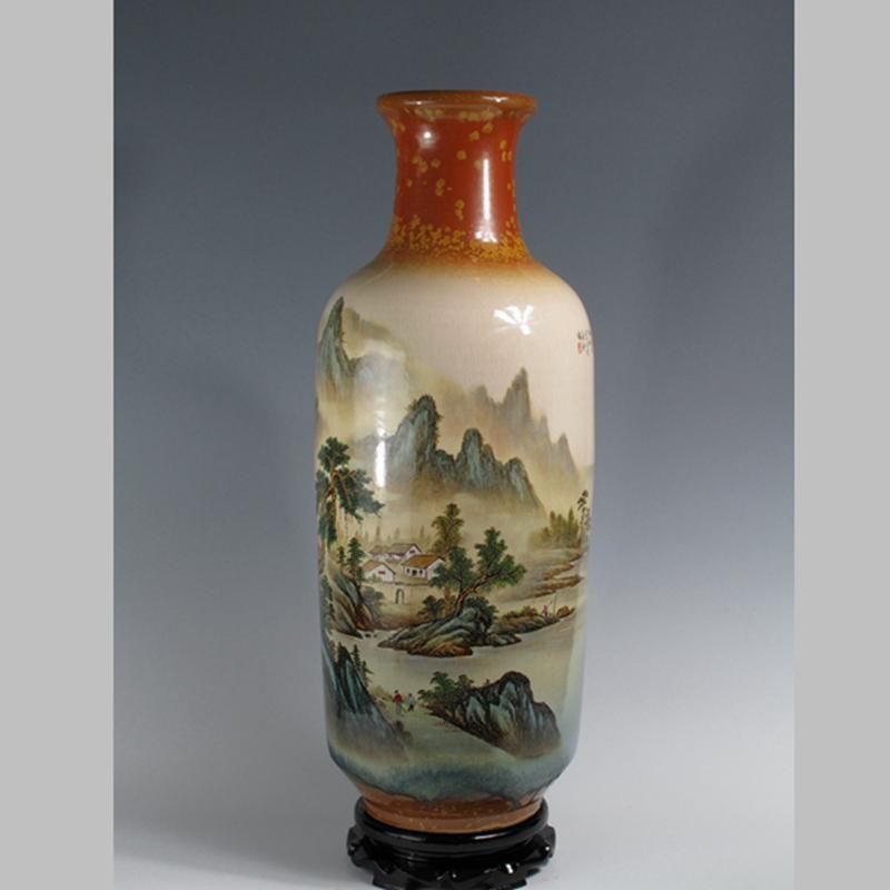 【曹致友作品】山水色釉粉彩瓶