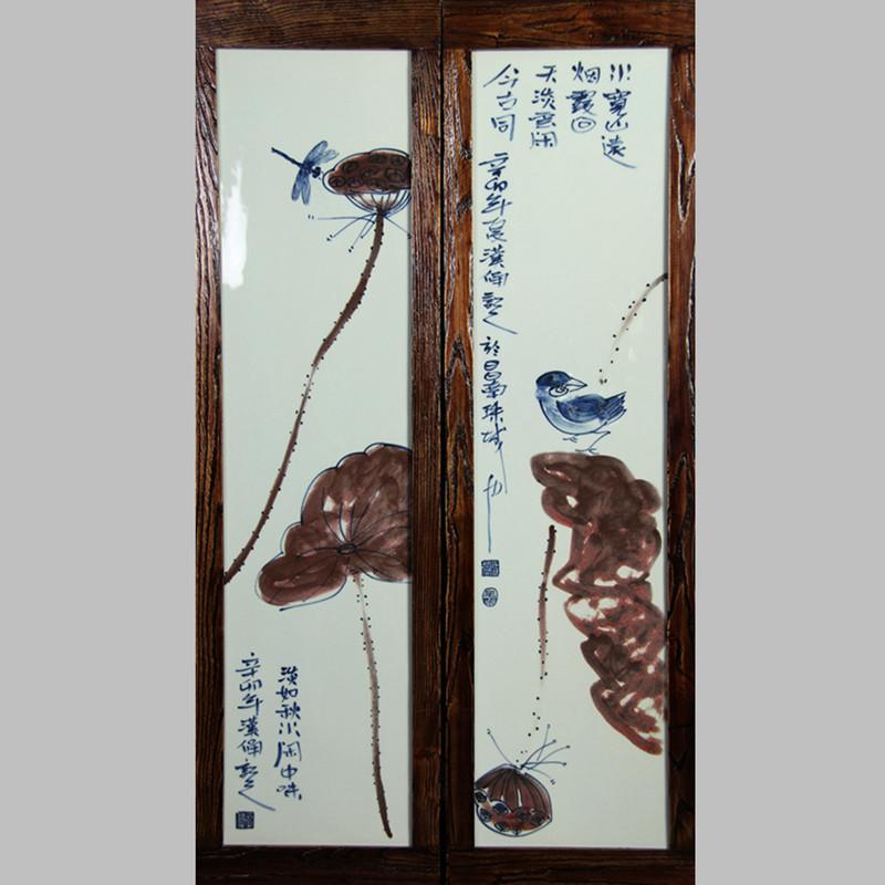 【汉俑作品】荷花禅意瓷板