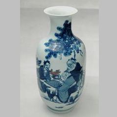 """【孙公窑作品】150件青花""""三老下棋图""""瓶"""