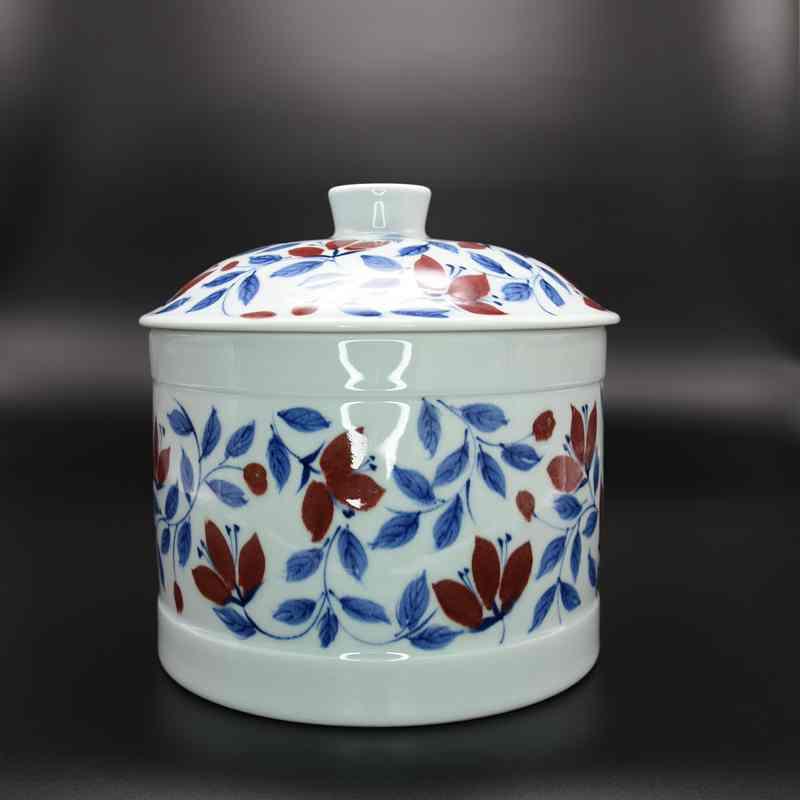 【赵淑静作品】青花釉里红木槿花茶罐