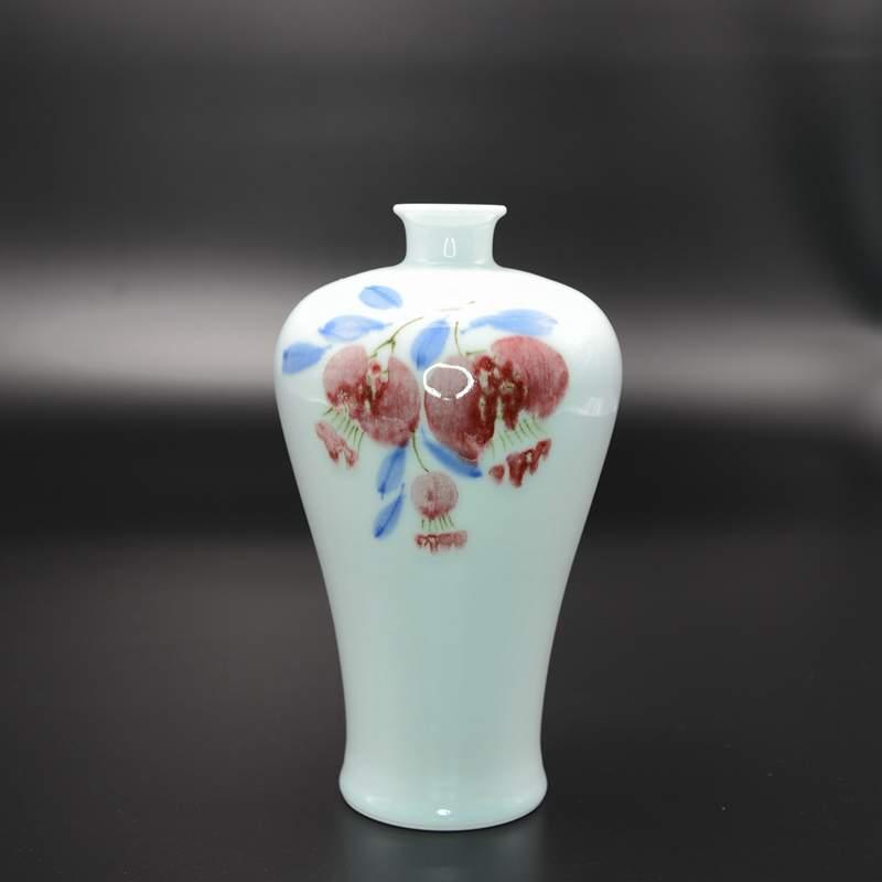 【赵淑静作品】青花釉里红石榴梅瓶