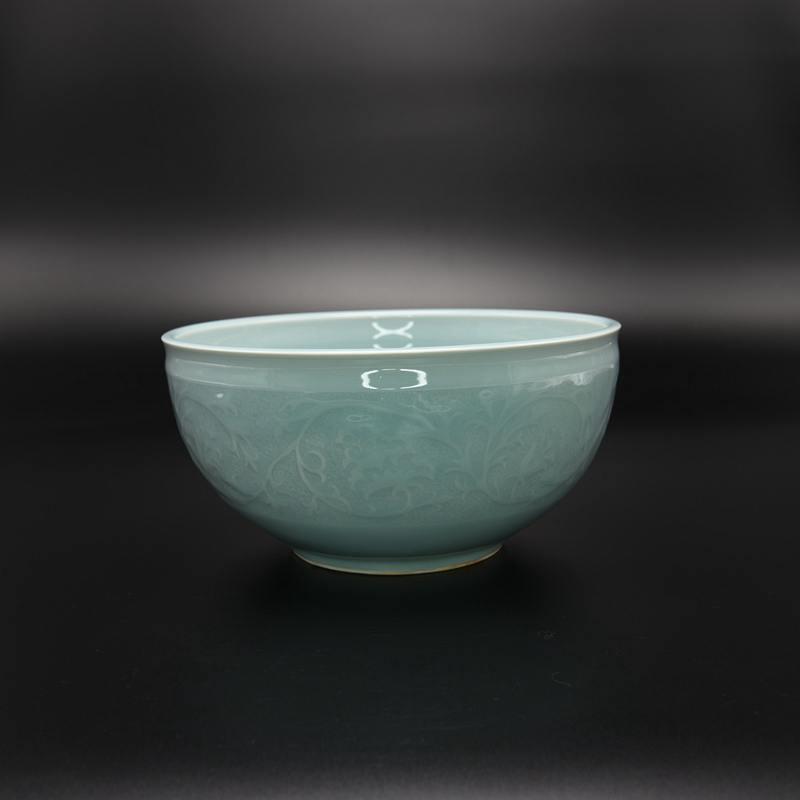 【龙泉青瓷叶伟】天青缠枝纹碗