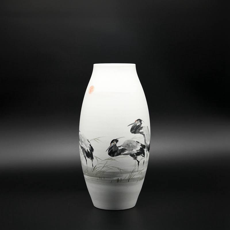 """【熊国辉作品】100件珍珠釉墨彩""""湖边情"""""""